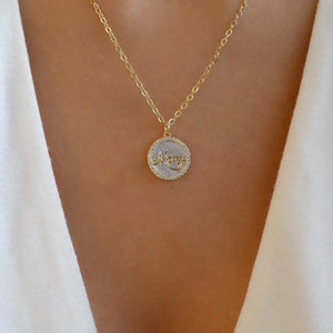Crystal Mom Coin Necklace