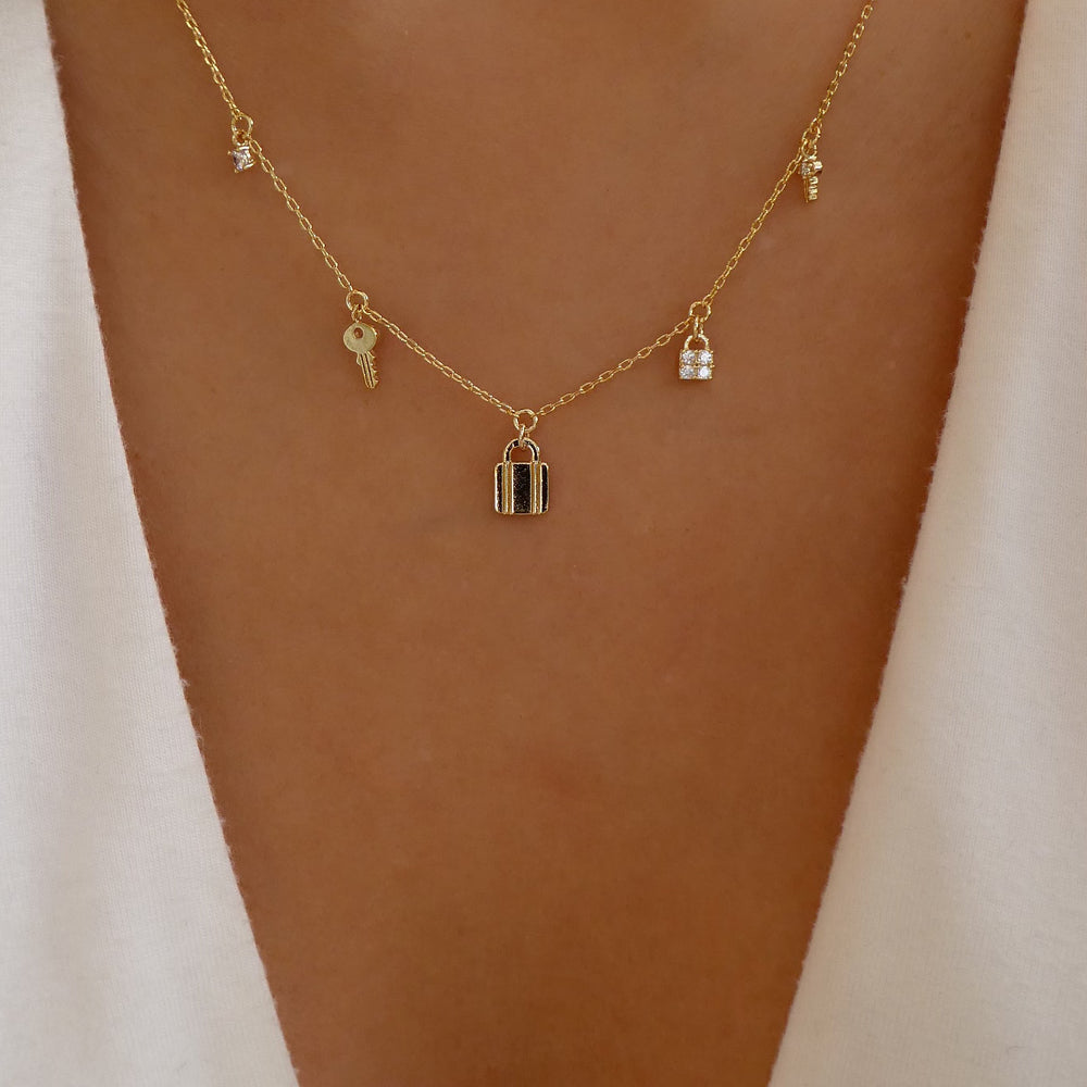 18K Lock Charm Necklace