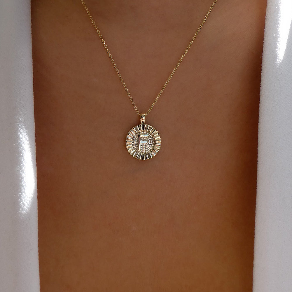 Letter Coin Necklace (F)