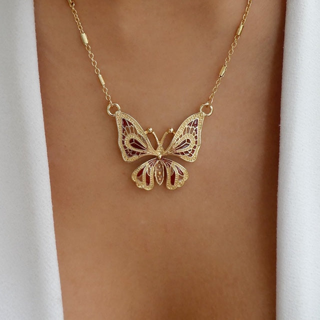 Ruby Butterfly Necklace