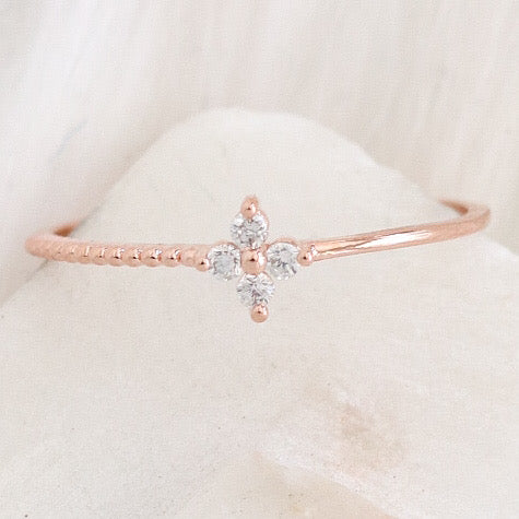 Crystal Clover Ring (Rose Gold)