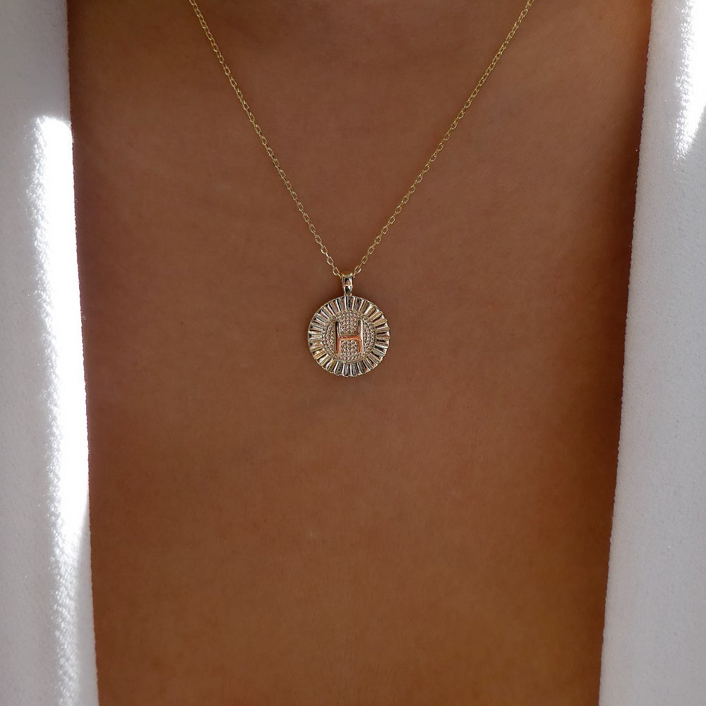 Letter Coin Necklace (H)
