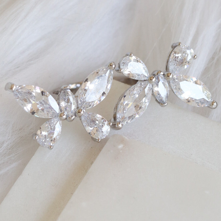 Crystal Double Butterfly Ring