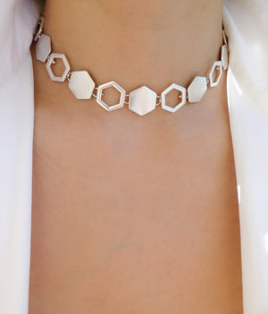 Silver Hexagon Choker