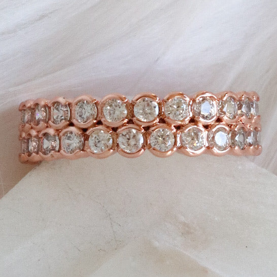 Double Crystal Ring (Rose Gold)