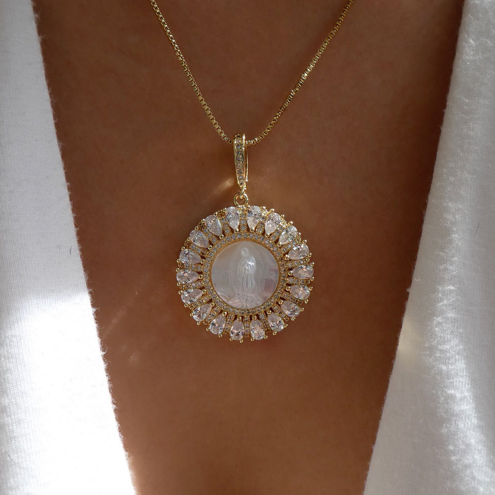 Pearl Madonna & Crystal Necklace