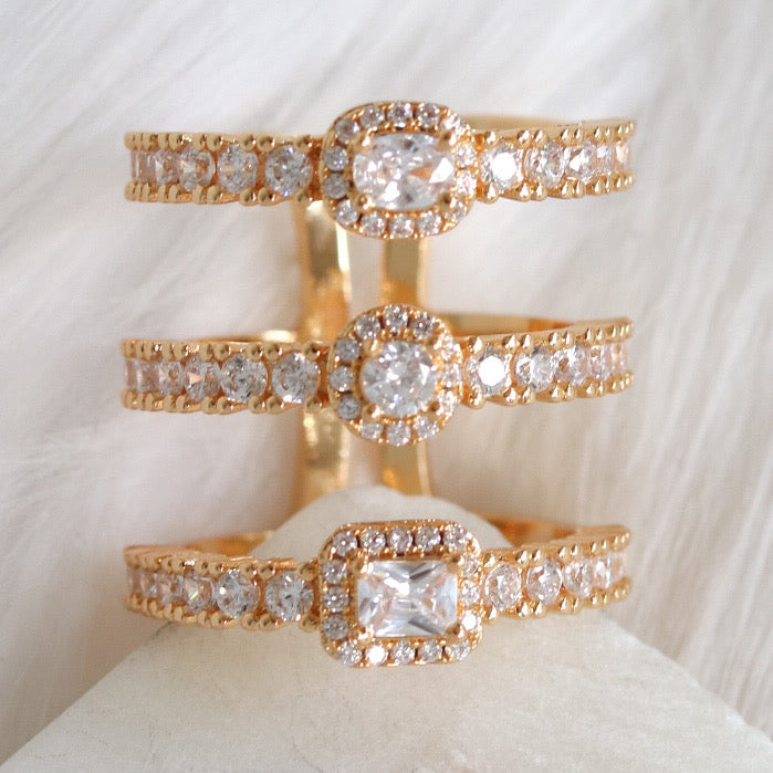 Crystal Melly Bar Ring