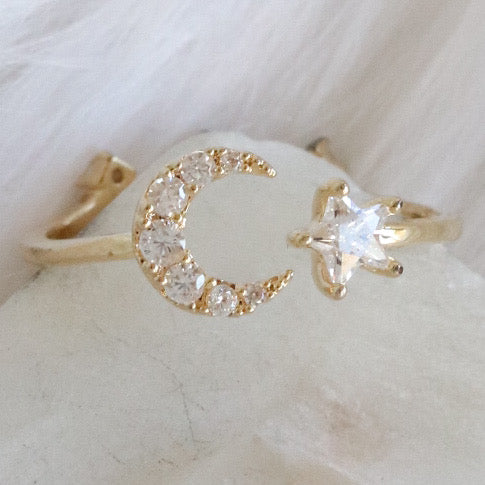 Evie Star & Moon Ring