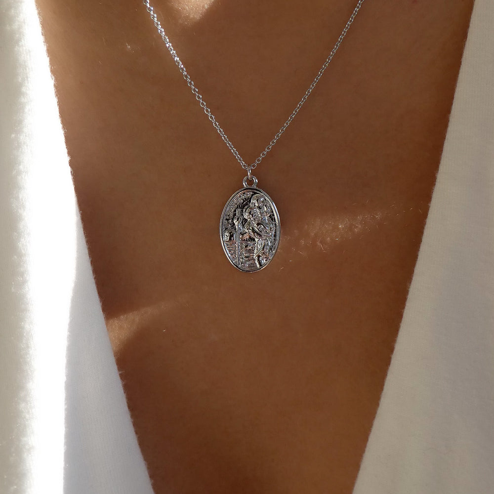 24K White Gold St. Benedict Necklace
