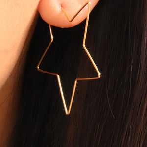 14K Simple Star Hoops