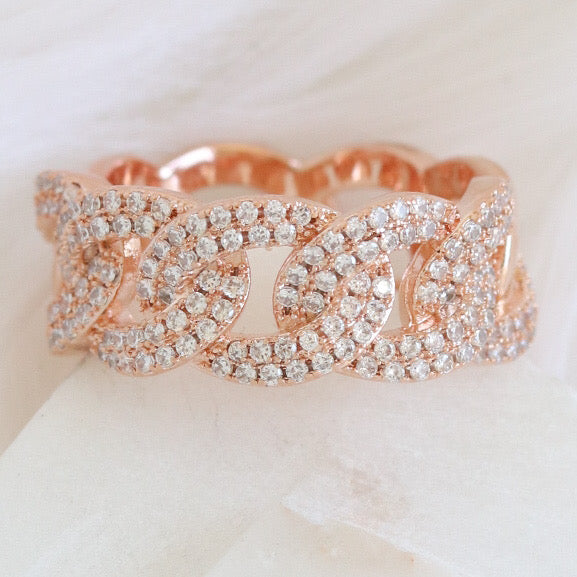 Crystal Lia Chain Ring (Rose Gold)