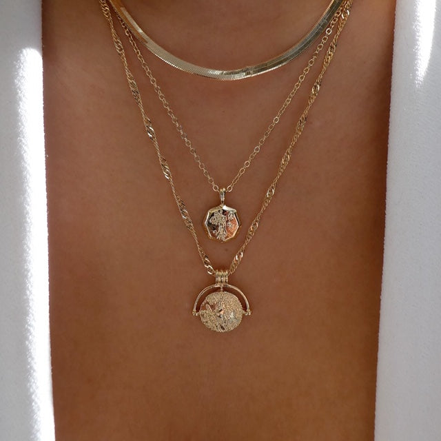 Retro Coin Necklace Set