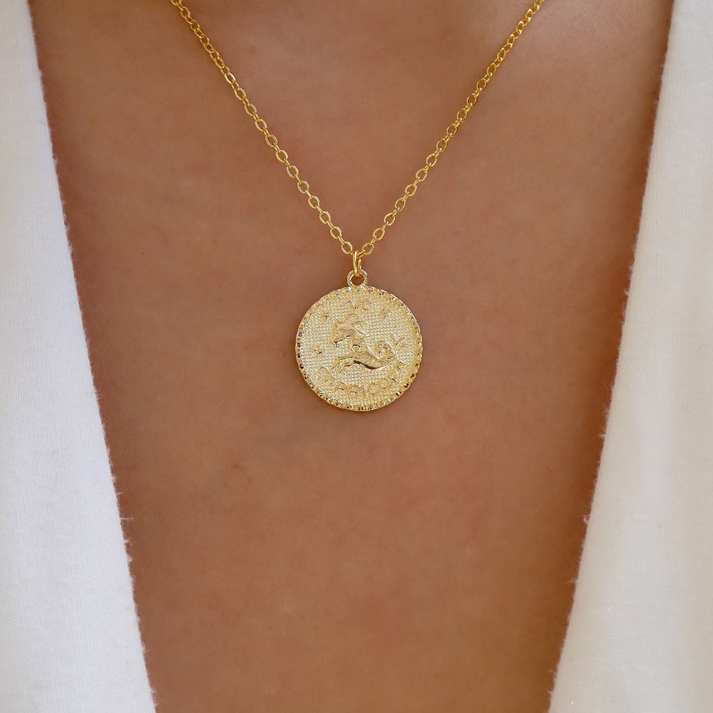 Gold Zodiac Coin Necklace (Capricorn)