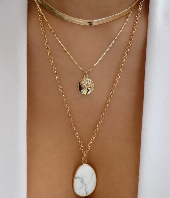 Marble & Coin Necklace