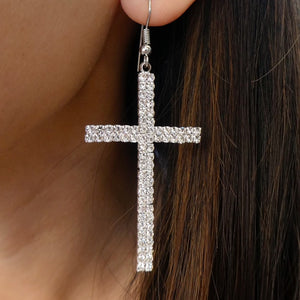 Eden Cross Earrings (Silver)