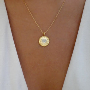 18K Heart Coin Necklace