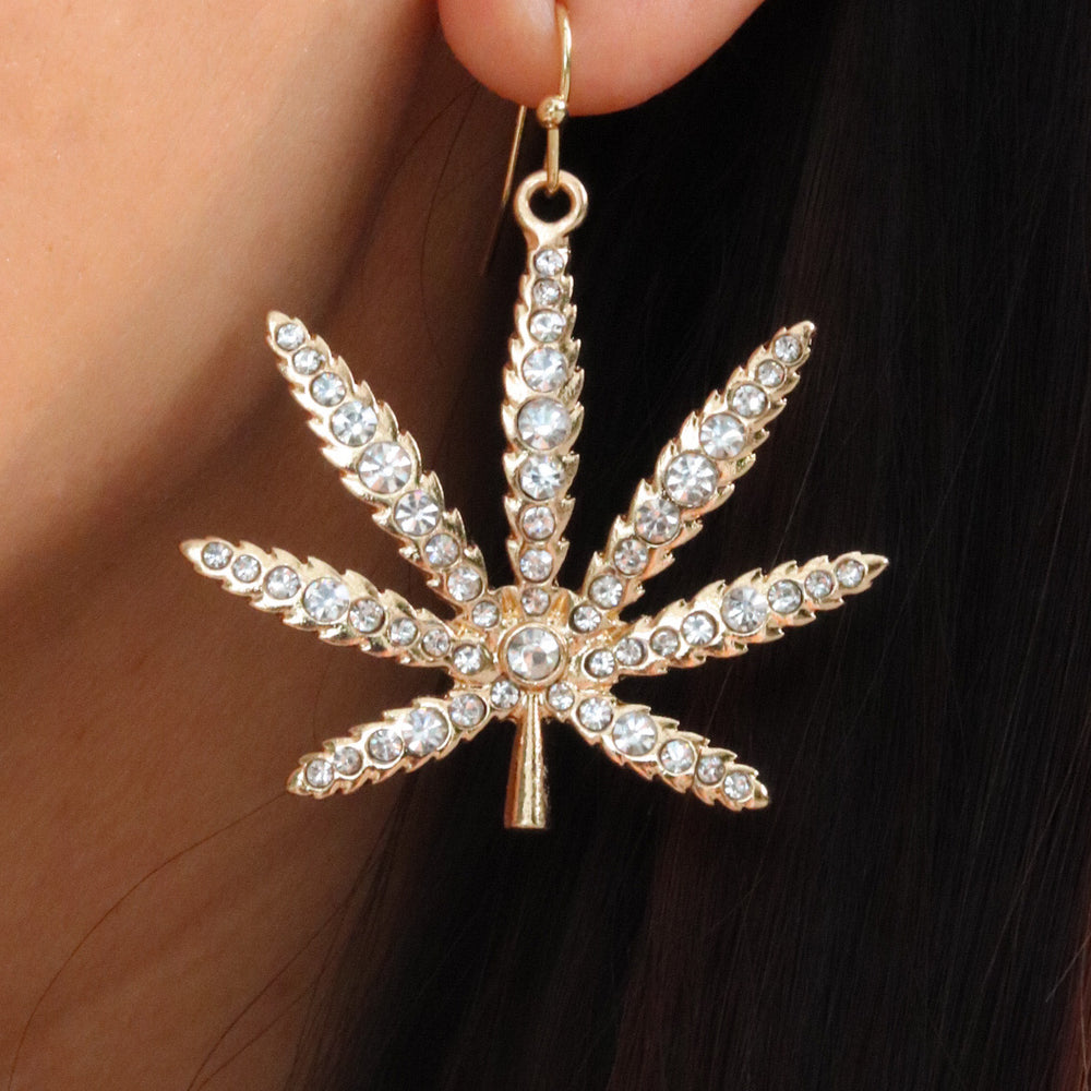 Crystal Cannabis Earrings