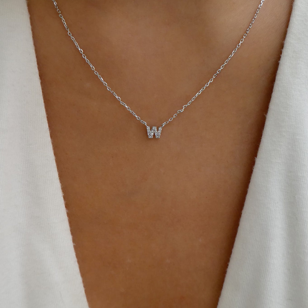 Mini Silver Letter Pendant Necklace (W)