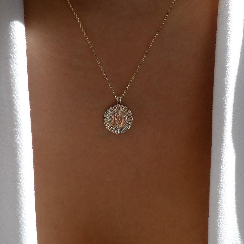 Letter Coin Necklace (N)