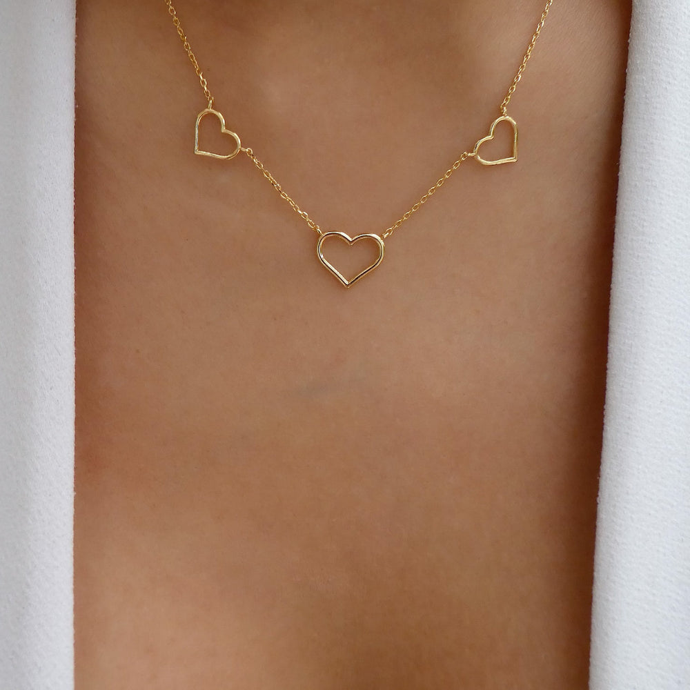 18K Triple Heart Necklace