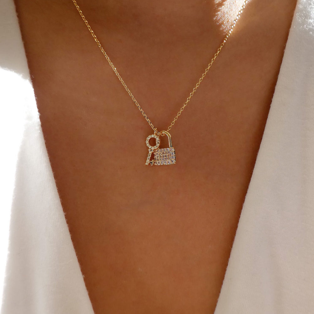18K Key & Crystal Lock Necklace