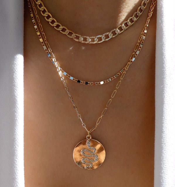 Snake Coin Necklace Set