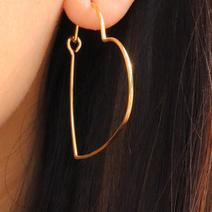 14K Simple Heart Hoops
