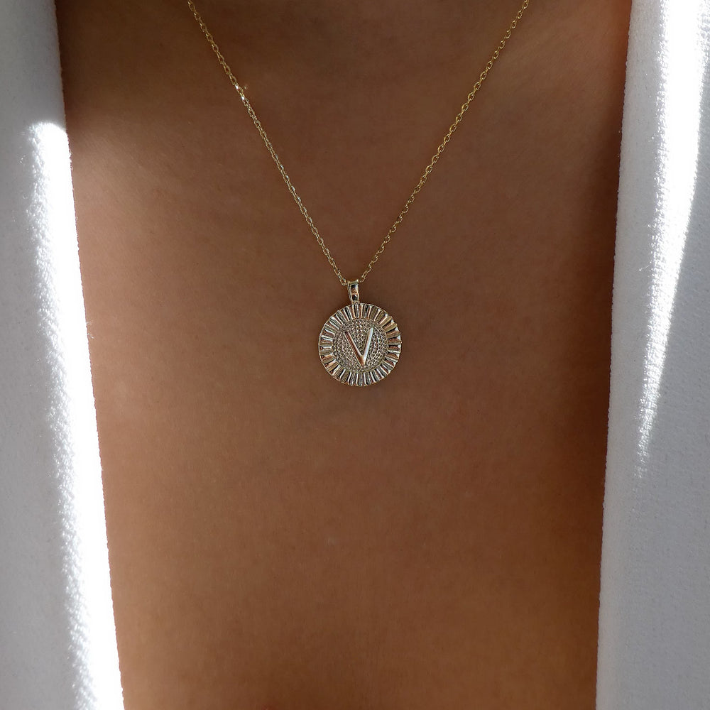 Letter Coin Necklace (V)