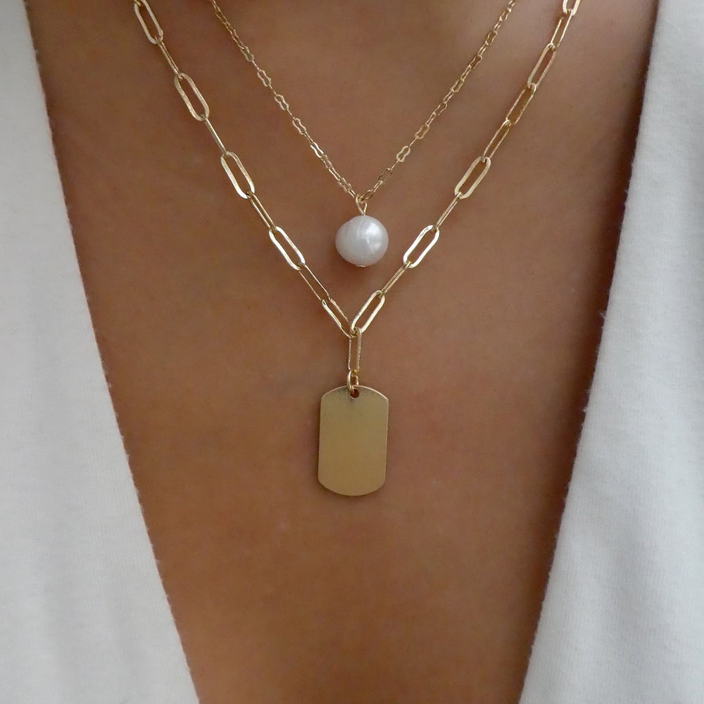 Pearl & Tag Necklace