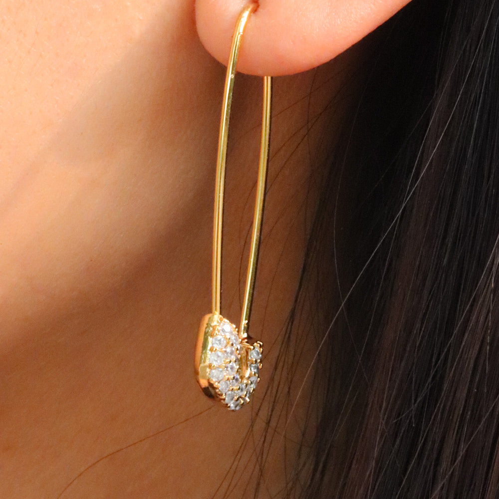 14K Crystal Pin Earrings