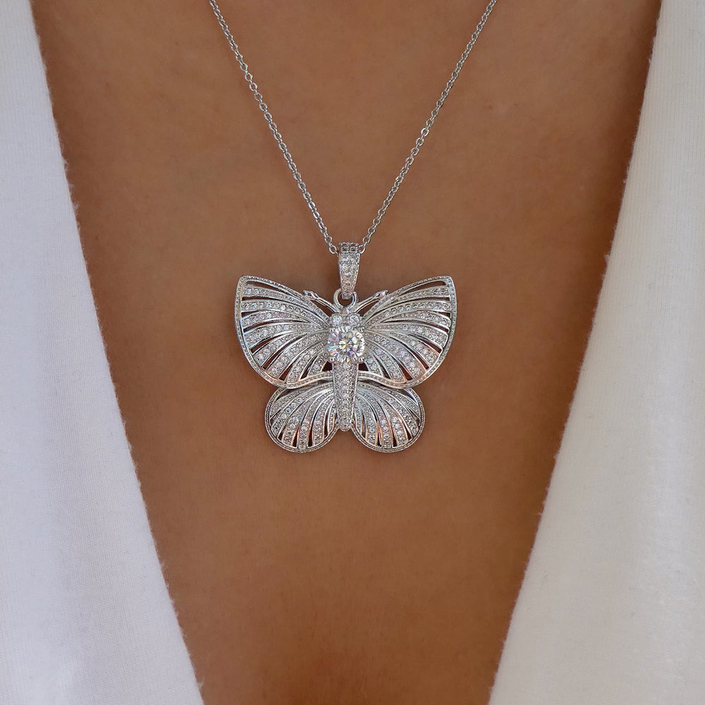 Crystal Caroline Butterfly Necklace (Silver)