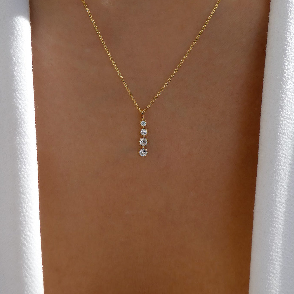 14K Crystal Drop Necklace