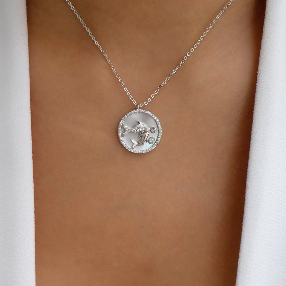 Silver Ali Zodiac Necklace (Pisces)