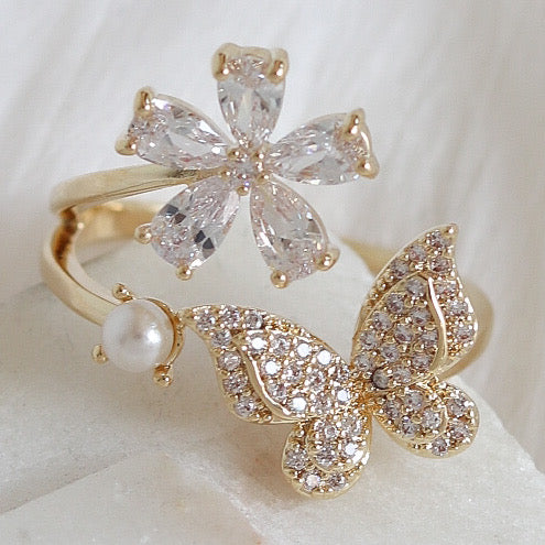 Flower, Butterfly & Pearl Ring