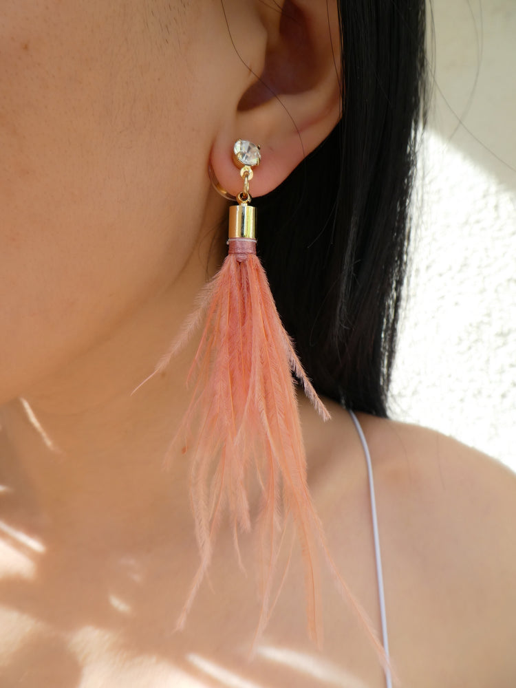 Rose Feather Earrings