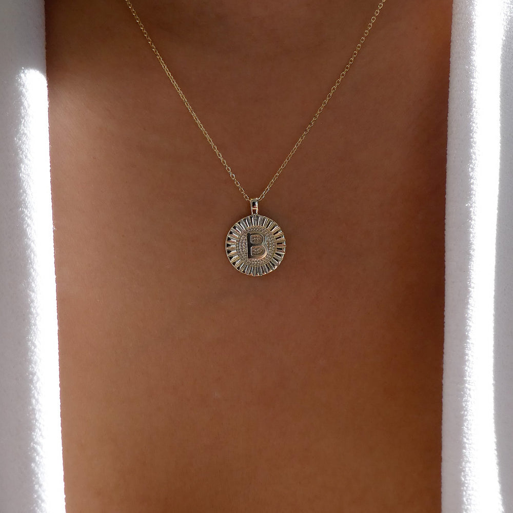 Letter Coin Necklace (B)