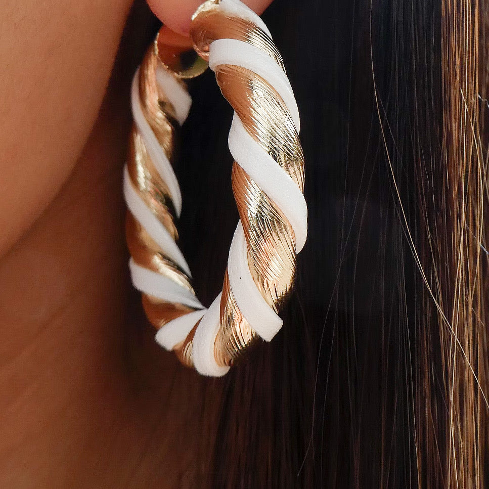White Thea Hoops