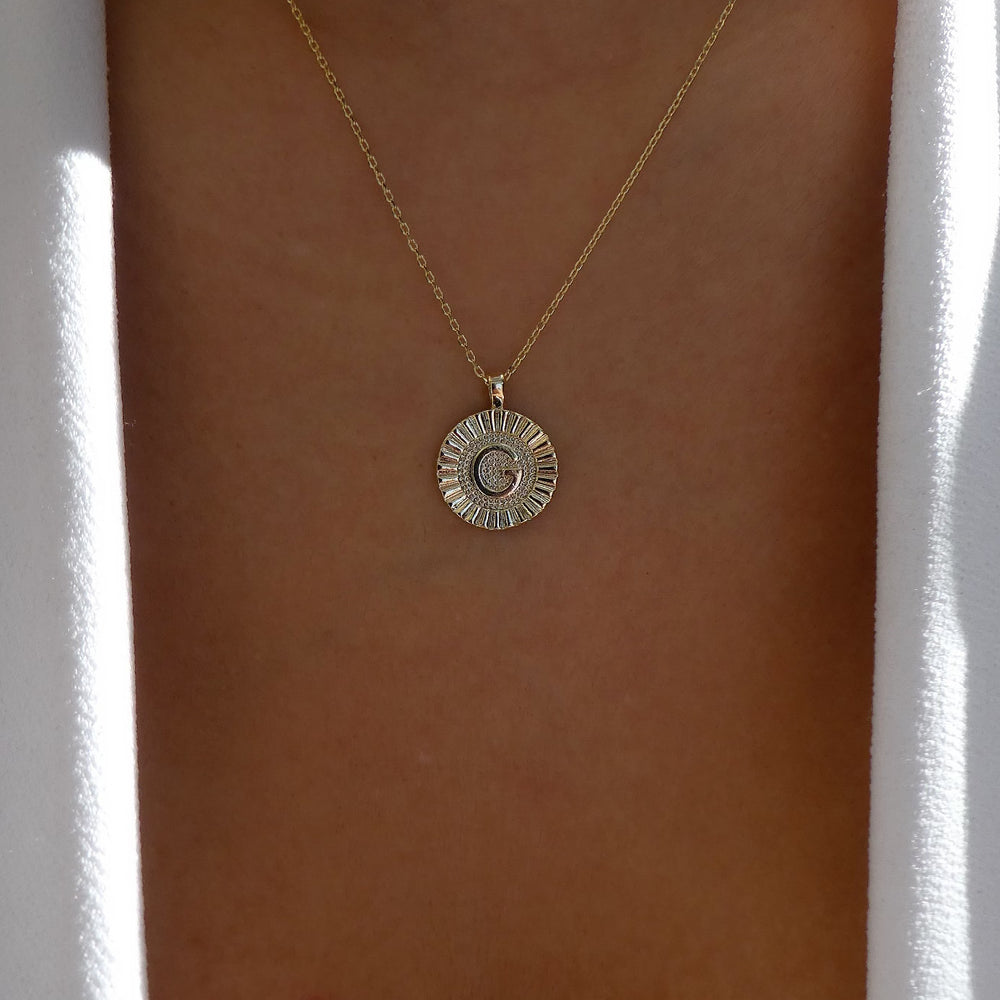 Letter Coin Necklace (G)