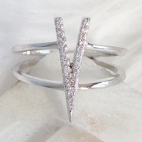 Silver Crystal V Ring