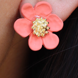 Spring Flower Earrings (Coral)