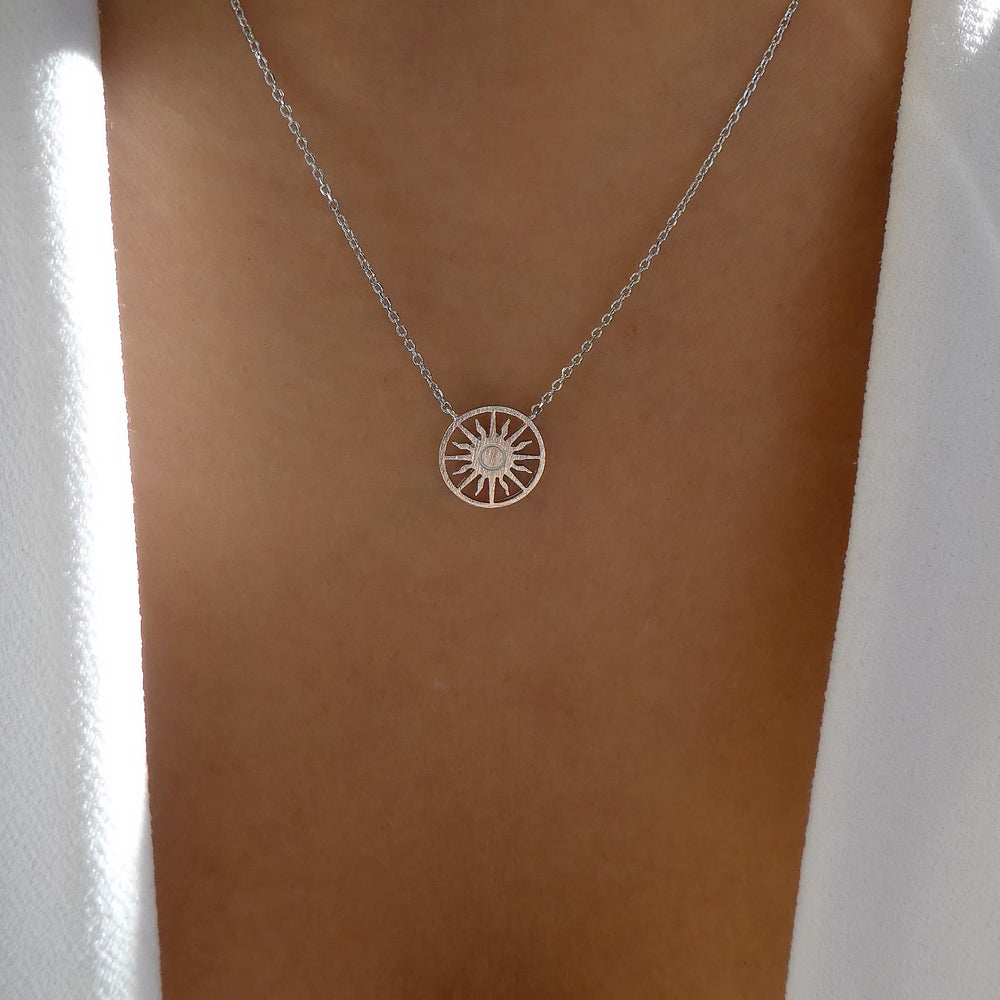 Silver Sun Coin Necklace