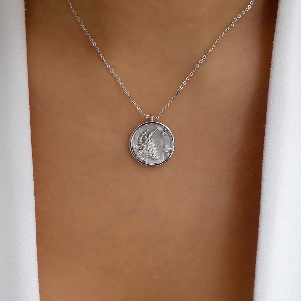 Silver Ali Zodiac Necklace (Taurus)