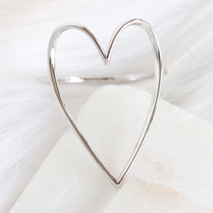 Simple Heart Ring (Silver)