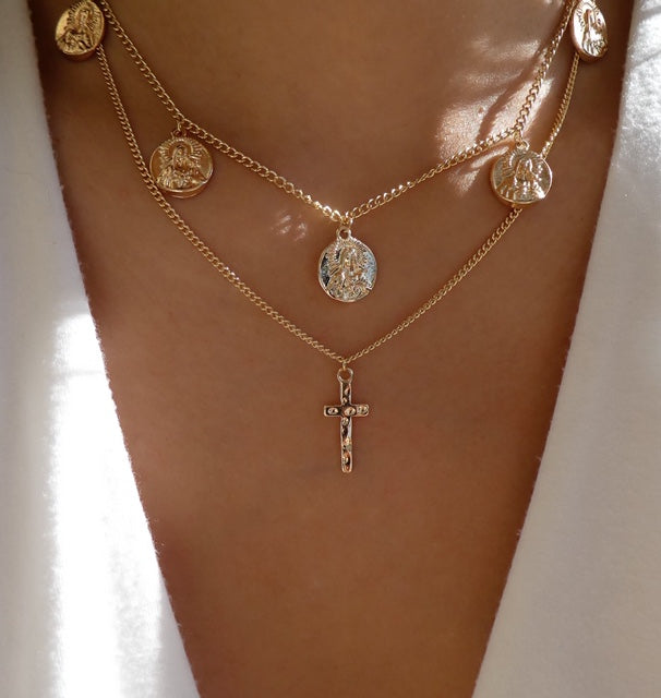 Cross & Coin Necklace