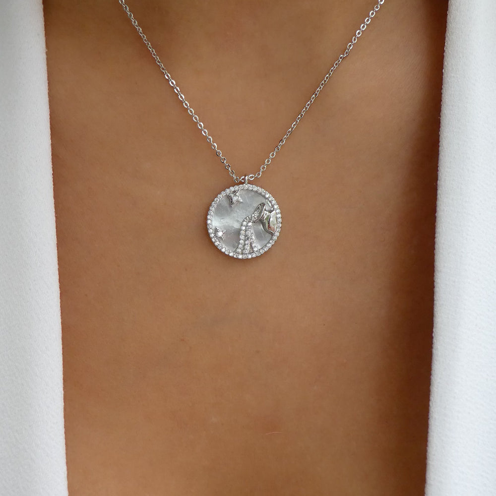 Silver Ali Zodiac Necklace (Aquarius)