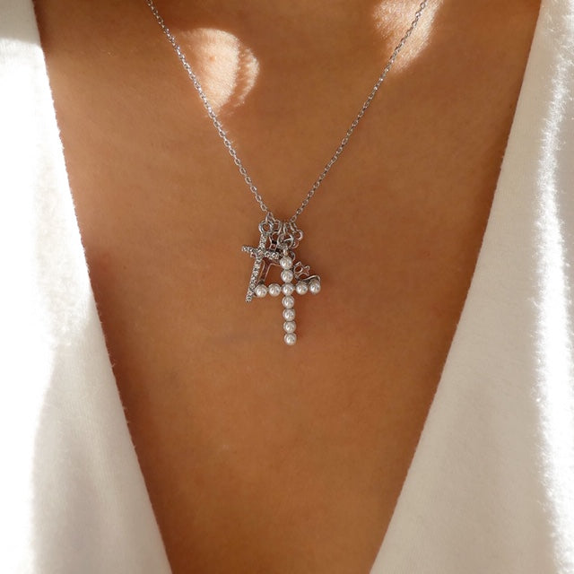 Gracie Cross Charm Necklace (Silver)