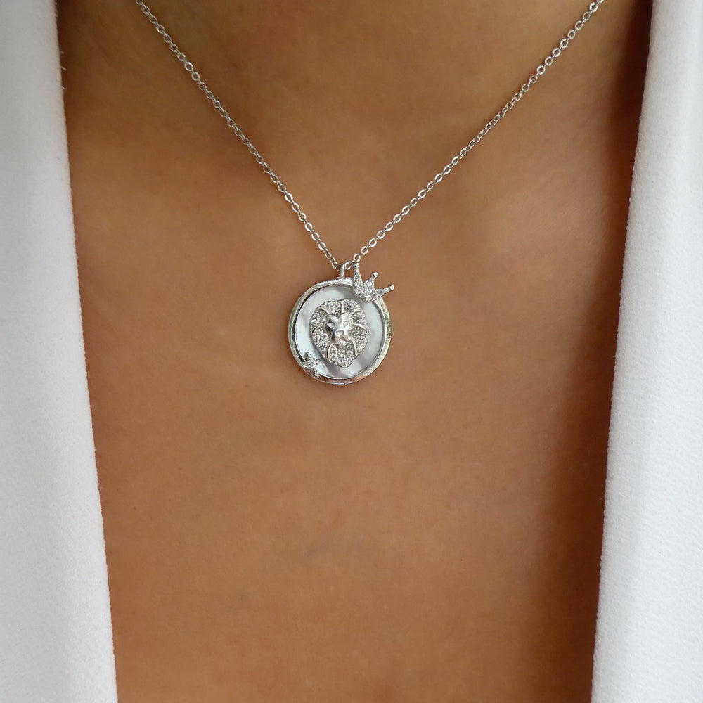 Silver Ali Zodiac Necklace (Leo)