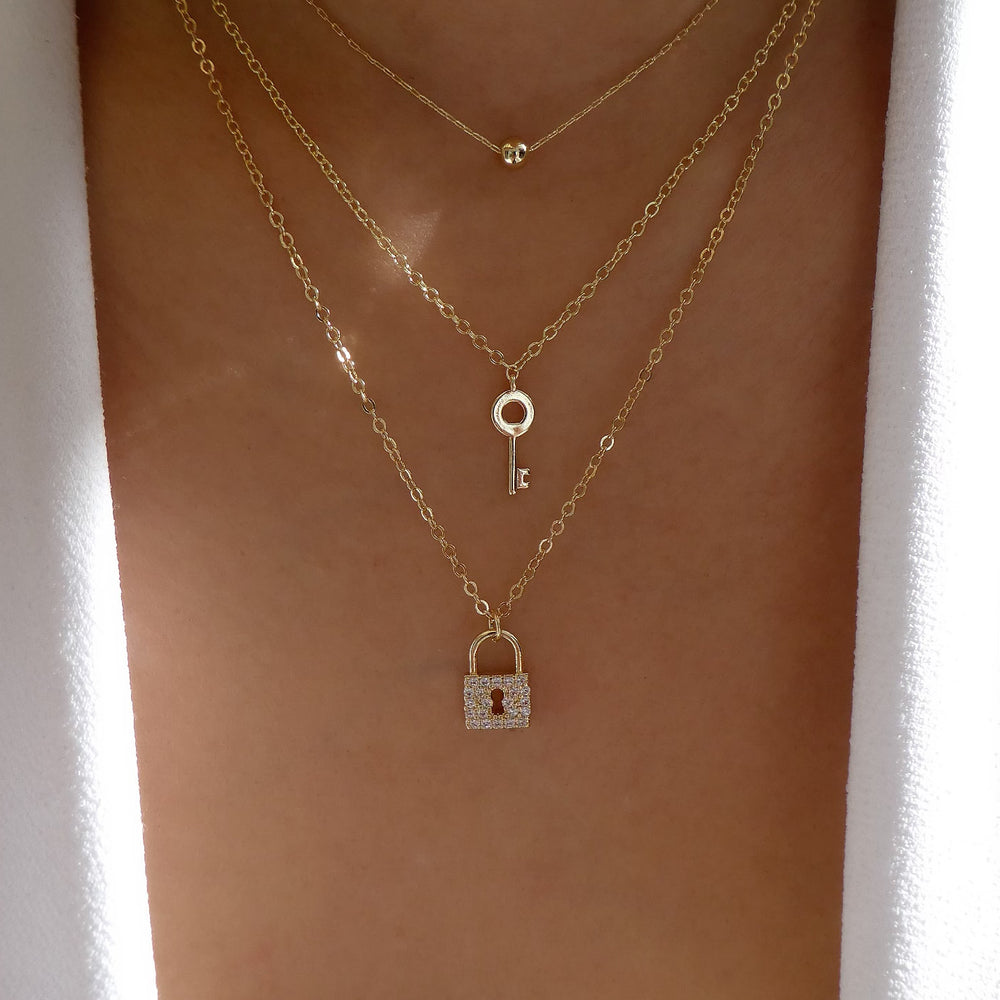 Lock & Key Necklace Set