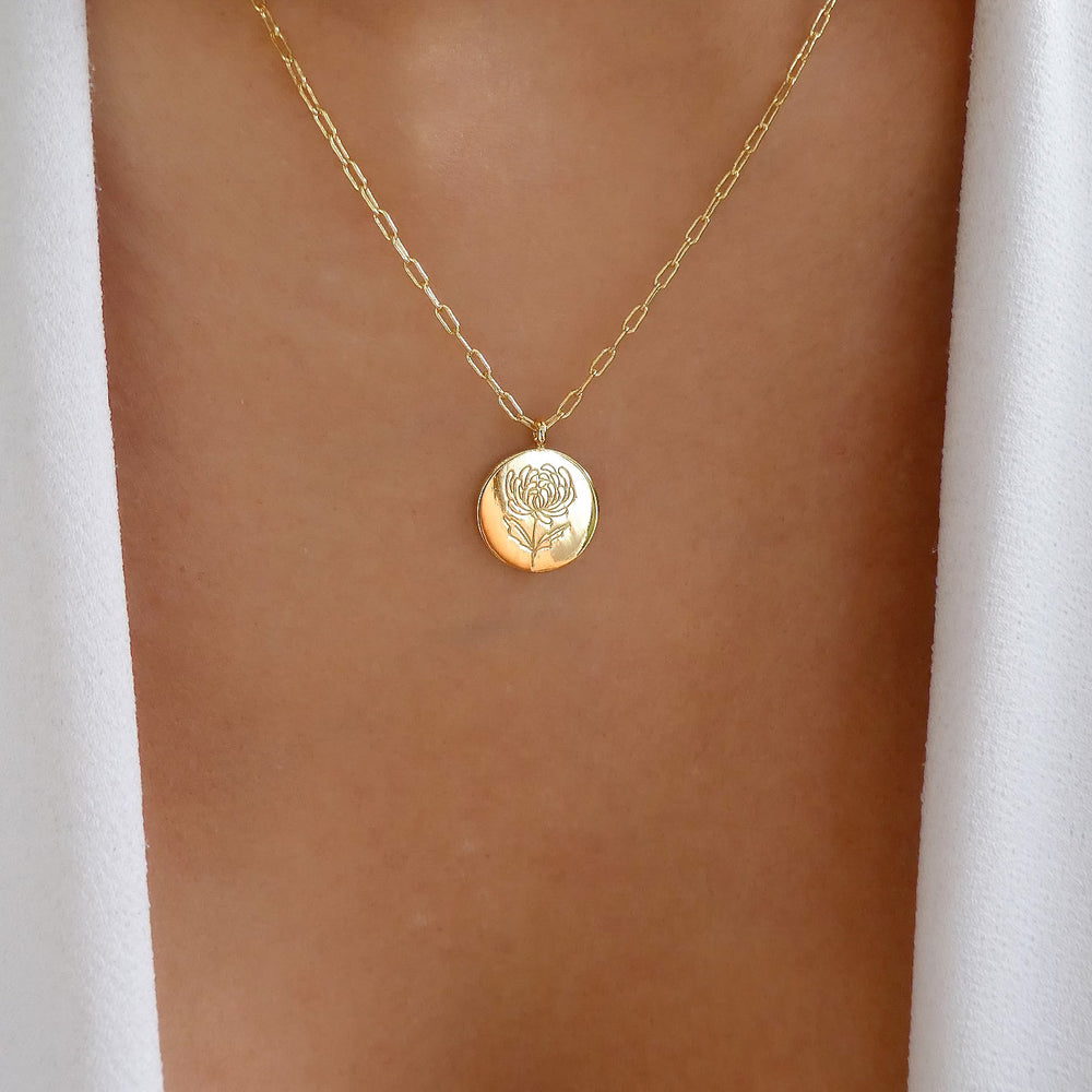 Columbus Flower Coin Necklace
