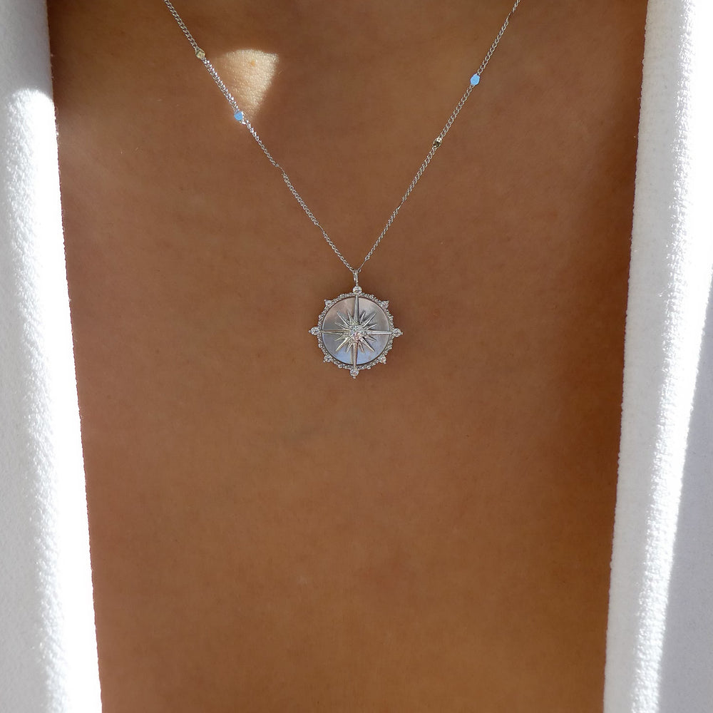 Silver Star Coin Necklace